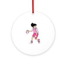 Basketball Girl Ornament (Round)