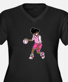 Basketball Girl Women's Plus Size V-Neck Dark T-Sh
