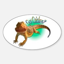 Bearded Dragon Got Crickets 5 Oval Decal