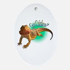 Bearded Dragon Got Crickets 5 Oval Ornament