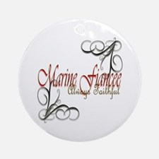 Swirl Marine Fiancee Ornament (Round)