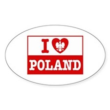 I Love Poland Flag Oval Decal