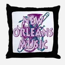 Purple New Orleans Music Throw Pillow