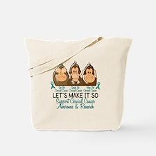 See Speak Hear No Cervical Cancer 2 Tote Bag