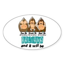 See Speak Hear No Cervical Cancer 3 Oval Decal