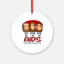 See Speak Hear No AIDS 1 Ornament (Round)