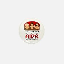 See Speak Hear No AIDS 1 Mini Button (10 pack)