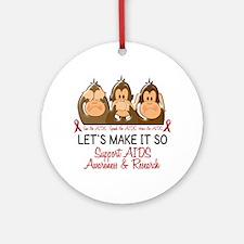 See Speak Hear No AIDS 2 Ornament (Round)