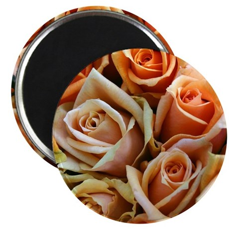 "peach roses flowers 2.25"" Magnet (100 pack)"