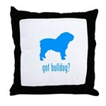 got bulldog? LT Blue Throw Pillow