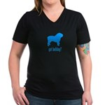 got bulldog? LT Blue Women's V-Neck Dark T-Shirt