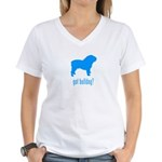 got bulldog? LT Blue Women's V-Neck T-Shirt