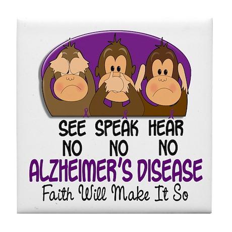 See Speak Hear No Alzheimers 1 Tile Coaster
