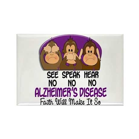 See Speak Hear No Alzheimers 1 Rectangle Magnet (1