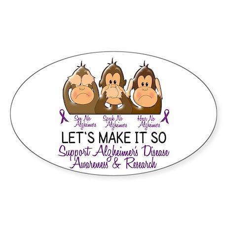 See Speak Hear No Alzheimers 2 Oval Sticker
