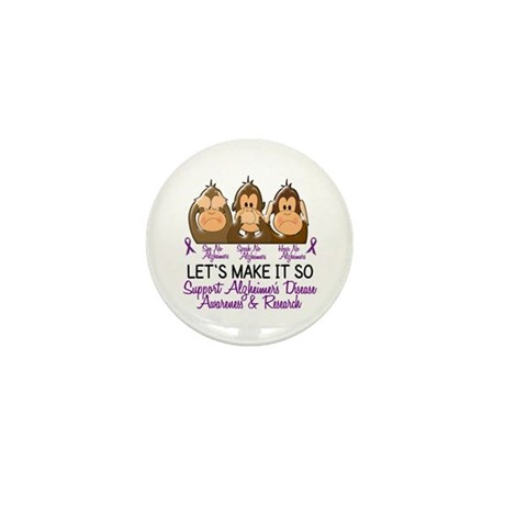 See Speak Hear No Alzheimers 2 Mini Button (100 pa