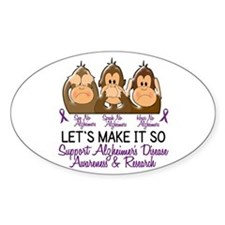 See Speak Hear No Alzheimers 2 Oval Decal