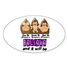 See Speak Hear No Alzheimers 3 Oval Decal