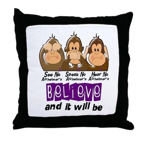 See Speak Hear No Alzheimers 3 Throw Pillow