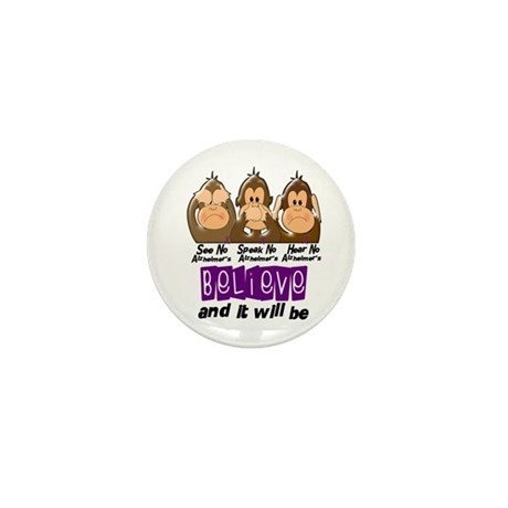 See Speak Hear No Alzheimers 3 Mini Button (100 pa