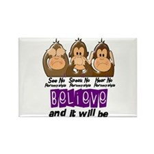 See Speak Hear No Fibromyalgia 3 Rectangle Magnet