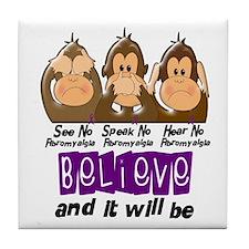 See Speak Hear No Fibromyalgia 3 Tile Coaster