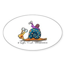 Mama and Baby Snail Oval Sticker by Sophie Turre