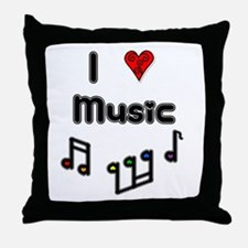I Love Music Throw Pillow