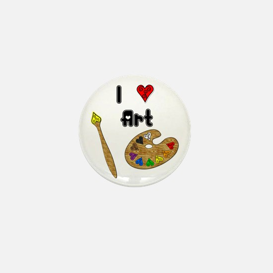 I Love Art Mini Button