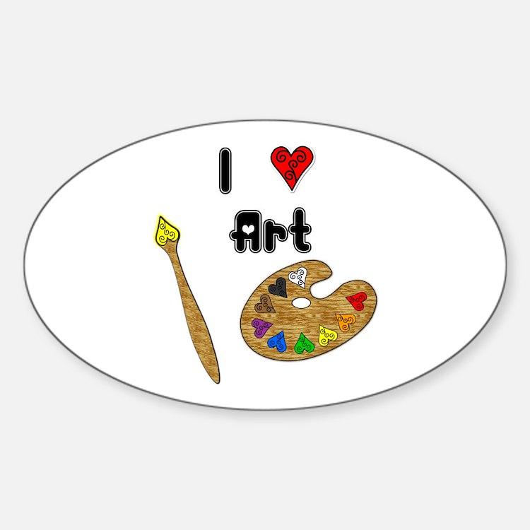 I Love Art Oval Decal