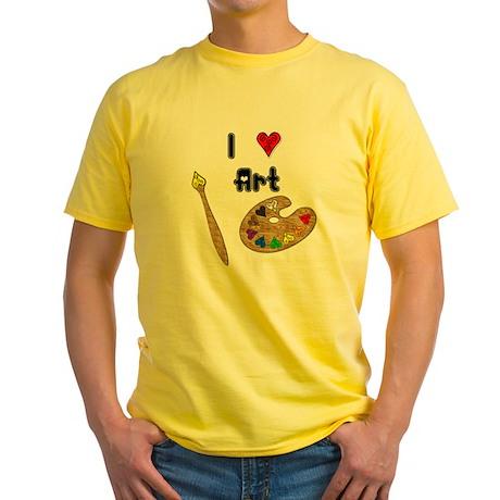 I Love Art Yellow T-Shirt