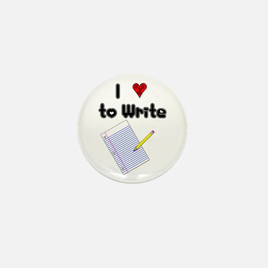 I Love to Write Mini Button