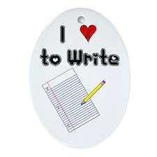 I Love to Write Oval Ornament
