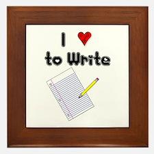 I Love to Write Framed Tile