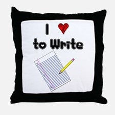 I Love to Write Throw Pillow