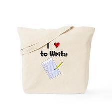 I Love to Write Tote Bag