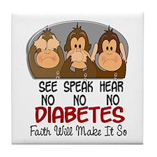 See Speak Hear No Diabetes 1 Tile Coaster