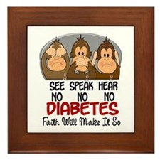 See Speak Hear No Diabetes 1 Framed Tile