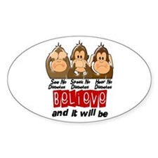 See Speak Hear No Diabetes 3 Oval Decal