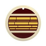 Yellow Brown Abstract Lines Ornament