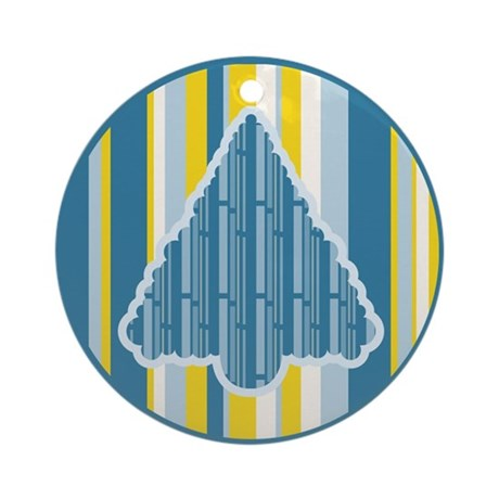 Funky Blue Yellow Christmas Tree Ornament