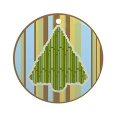 Funky Green Brown Christmas Tree Ornament