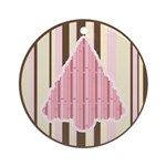 Funky Pink Brown Christmas Tree Ornament