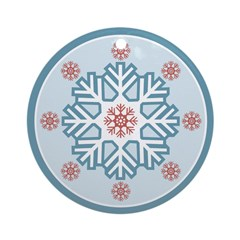 Blue Red Modern Snowflake Ornament