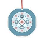 Blue Red Modern Snowflake Ornament