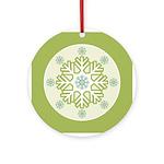 Green Blue Modern Snowflake Ornament