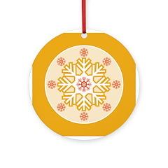 Orange Red Modern Snowflake Ornament
