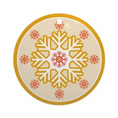 Orange Red Modern Snowflake Ornament