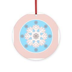 Pink Blue Modern Snowflake Ornament