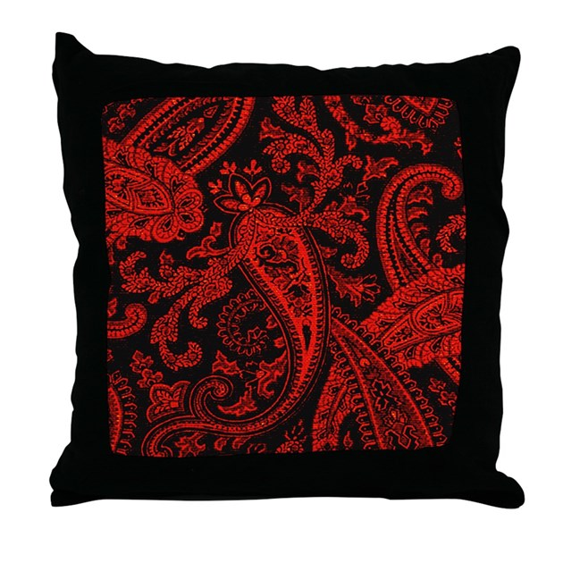 Decorative Pillows Red And Black : Red and Black Paisley Pillow Throw Pillow by scarebaby